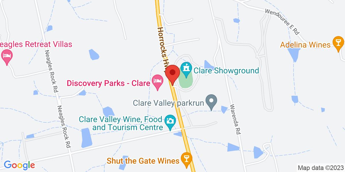 <div class='adr' >                             <div class='street-address'>Clare Showgrounds</div>                             <div class='extended-address'>8510 Horrocks Highway</div>                             <div>                                 <span class='locality'>Clare</span>,                                 <span class='region'>South Australia</span>                                 <span class='postal-code'>5453</span>                             </div>                                                      </div>