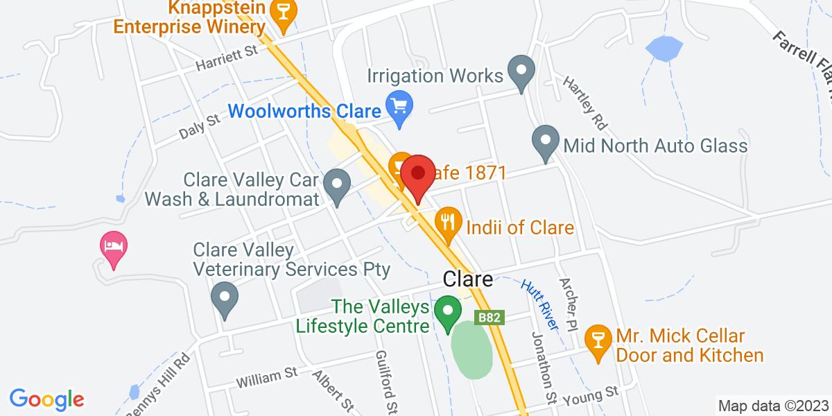 <div class='vcard'><div class='fn'>Clare History Collection</div>                         <div class='adr' >                             <div class='street-address'>Clare Town Hall</div>                             <div class='extended-address'></div>                             <div>                                 <span class='locality'>Clare</span>,                                 <span class='region'>South Australia</span>                                 <span class='postal-code'>5453</span>                             </div>                                                      </div></div>