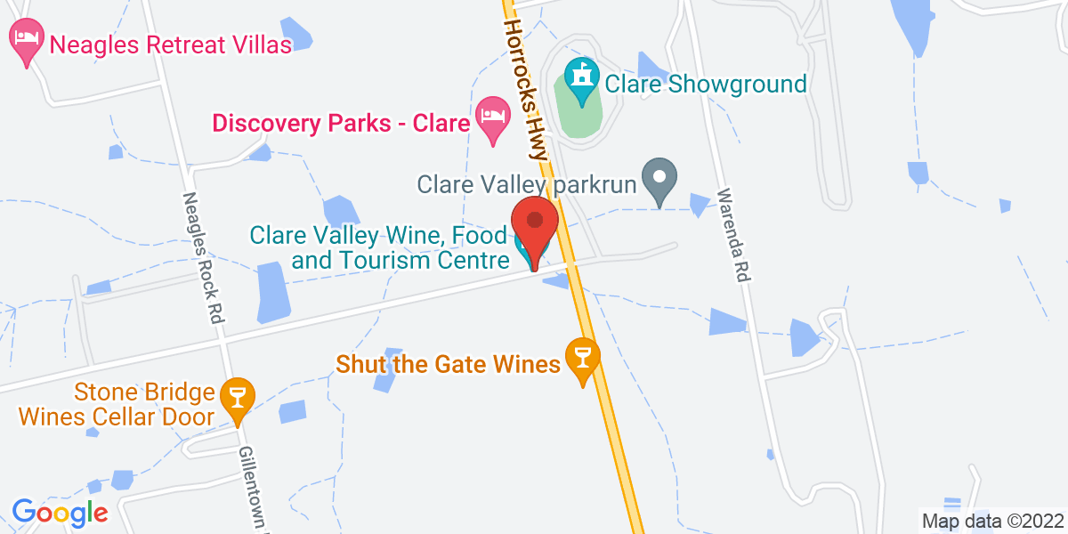 <div class='vcard'><div class='fn'>Clare Valley Wine, Food and Tourism Centre</div>                         <div class='adr' >                             <div class='street-address'>Corner Spring Gully Road and Horrocks Highway</div>                             <div class='extended-address'>No. 8 Spring Gully Road</div>                             <div>                                 <span class='locality'>Clare</span>,                                 <span class='region'>South Australia</span>                                 <span class='postal-code'>5453</span>                             </div>                                                      </div></div>