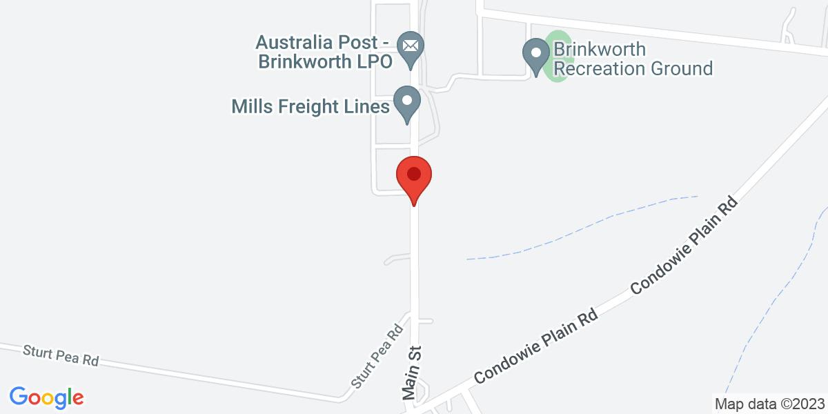 <div class='vcard'><div class='fn'>Brinkworth Country Lodge B&B</div>                         <div class='adr' >                             <div class='street-address'>Lot 2, Main Street, Brinkworth</div>                             <div class='extended-address'>Building - Homestead</div>                             <div>                                 <span class='locality'>Brinkworth</span>,                                 <span class='region'>South Australia</span>                                 <span class='postal-code'>5464</span>                             </div>                                                      </div></div>