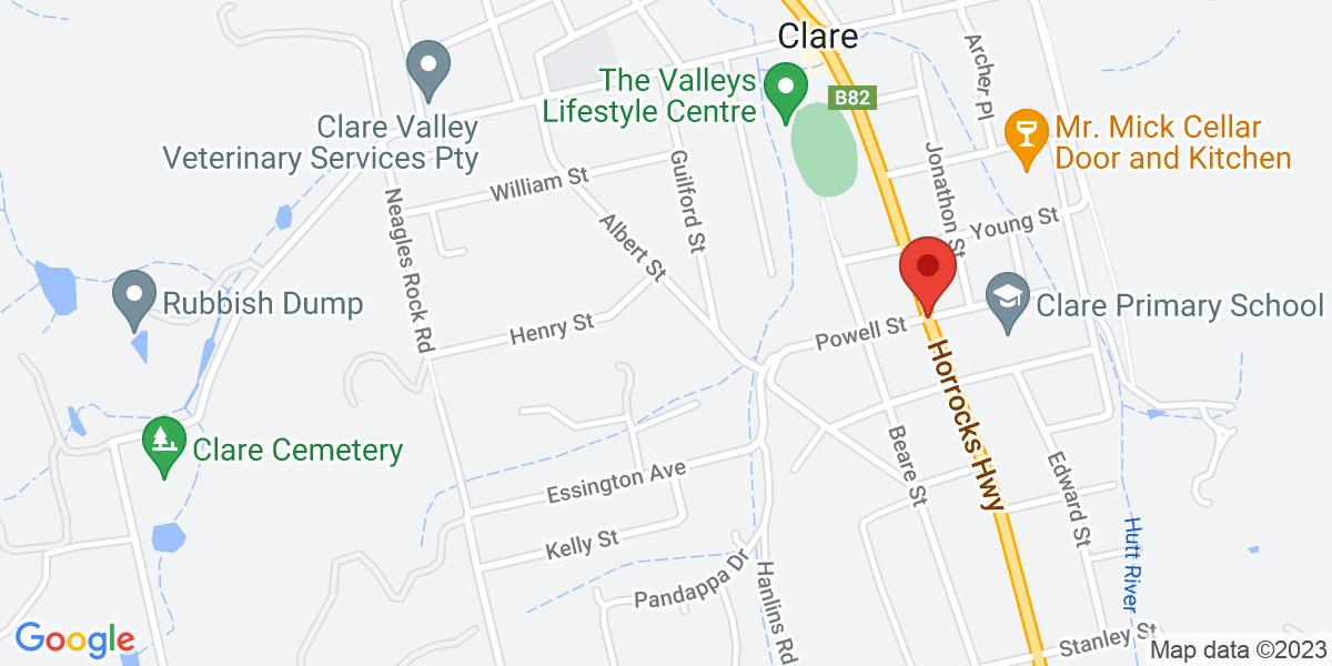 <div class='vcard'><div class='fn'>Greg Cooley Wines</div>                         <div class='adr' >                             <div class='street-address'>Main North Road</div>                             <div class='extended-address'>12</div>                             <div>                                 <span class='locality'>Clare</span>,                                 <span class='region'>South Australia</span>                                 <span class='postal-code'>5453</span>                             </div>                                                      </div></div>