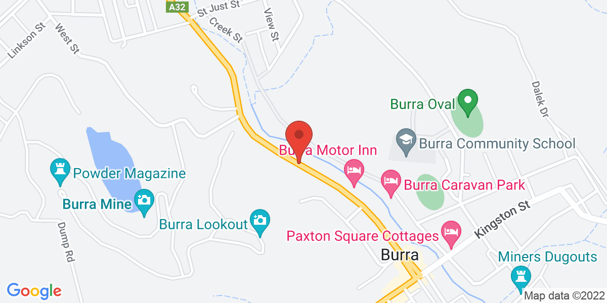 <div class='vcard'><div class='fn'>Burra Motor Inn</div>                         <div class='adr' >                             <div class='street-address'>Market Street</div>                             <div class='extended-address'></div>                             <div>                                 <span class='locality'>Burra</span>,                                 <span class='region'>South Australia</span>                                 <span class='postal-code'>5417</span>                             </div>                                                      </div></div>