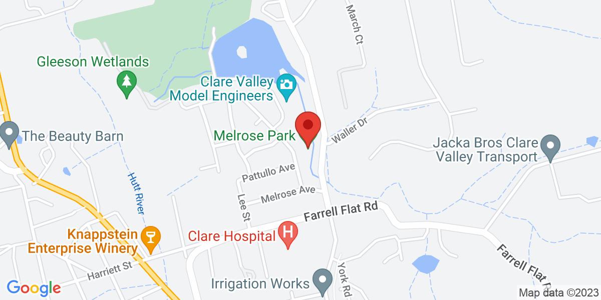 <div class='vcard'><div class='fn'>Clare Valley Model Engineers</div>                         <div class='adr' >                             <div class='street-address'>Melrose Park, Phoenix Ave</div>                             <div class='extended-address'></div>                             <div>                                 <span class='locality'>Clare</span>,                                 <span class='region'>South Australia</span>                                 <span class='postal-code'>5453</span>                             </div>                                                      </div></div>