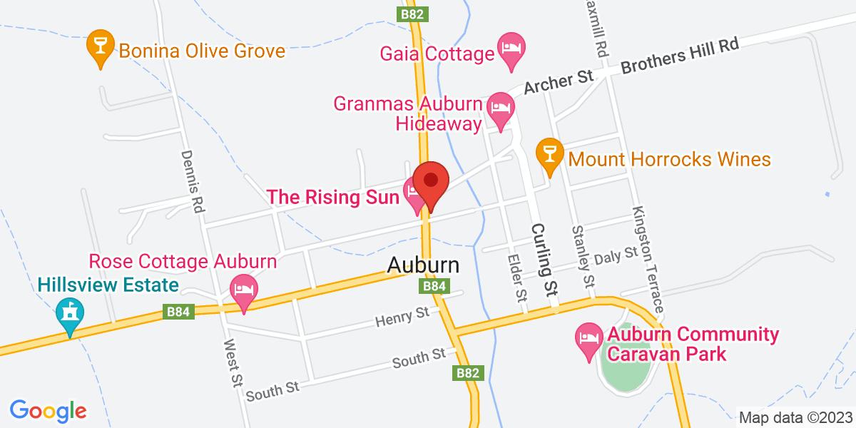 <div class='vcard'><div class='fn'>Tour de Vines</div>                         <div class='adr' >                             <div class='street-address'>Rising Sun Hotel, 24 Horrocks Highway</div>                             <div class='extended-address'></div>                             <div>                                 <span class='locality'>Auburn</span>,                                 <span class='region'>South Australia</span>                                 <span class='postal-code'>5451</span>                             </div>                                                      </div></div>