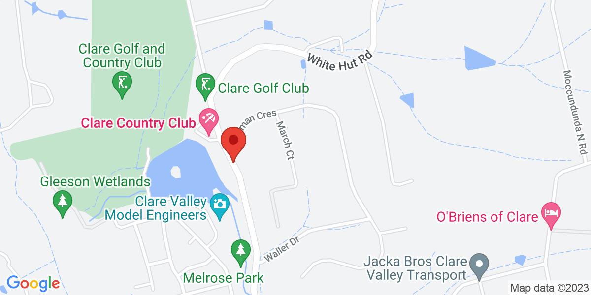 <div class='vcard'><div class='fn'>Clare Golf Club</div>                         <div class='adr' >                             <div class='street-address'>White Hut Road</div>                             <div class='extended-address'></div>                             <div>                                 <span class='locality'>Clare</span>,                                 <span class='region'>South Australia</span>                                 <span class='postal-code'>5453</span>                             </div>                                                      </div></div>