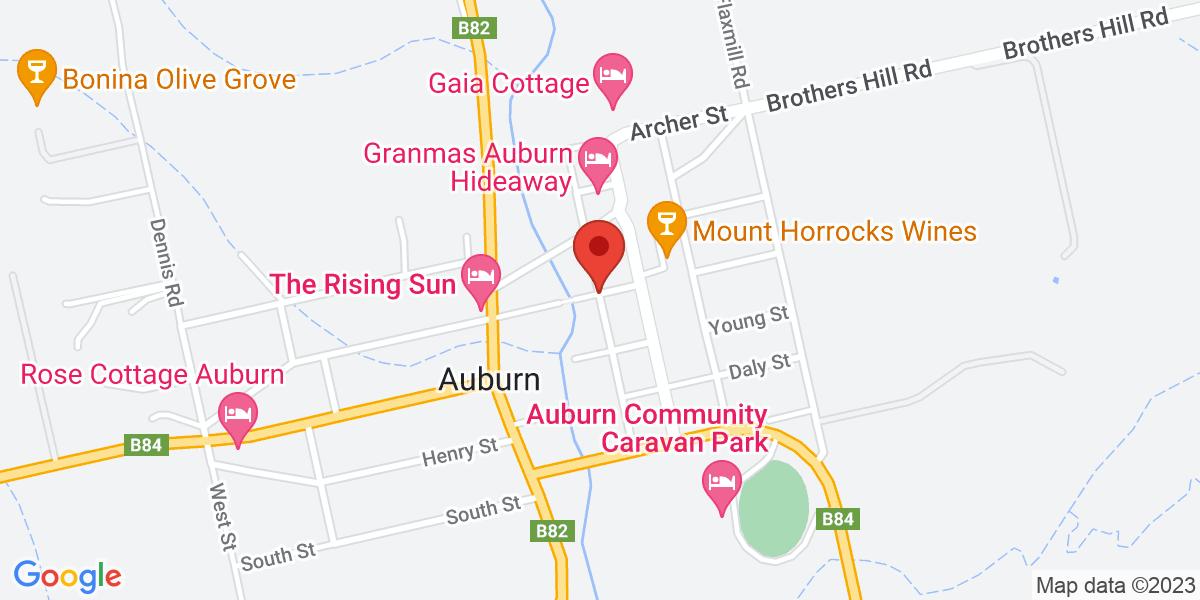 <div class='vcard'><div class='fn'>Amy's House Bed and Breakfast</div>                         <div class='adr' >                             <div class='street-address'>cnr Church Street and  Elder Street</div>                             <div class='extended-address'></div>                             <div>                                 <span class='locality'>Auburn</span>,                                 <span class='region'>South Australia</span>                                 <span class='postal-code'>5451</span>                             </div>                                                      </div></div>