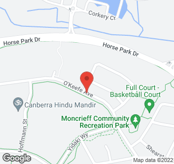 Map of O'Keefe Avenue, Moncrieff, ACT